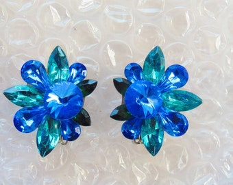 Vintage Lovely Various Shades of Blues Stone Clip Earrings
