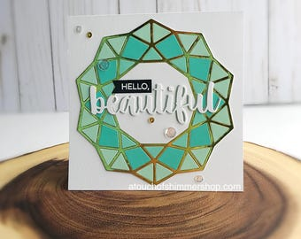 Handmade Hello Beautiful Card, Handmade Card, Hello Card, Miss You Card, Friend Card, Just Because Card