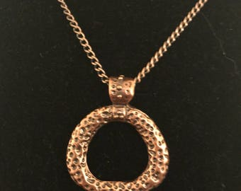 Bronze chain necklace with rustic pendant