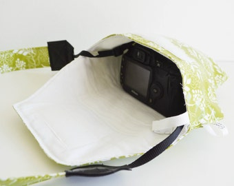 Summer Break Travel Camera Bag Lime Green Floral Camera Coat Rain Slicky Water Wipes Off | Padded Fitted Rain Jacket For Your DSLR Camera