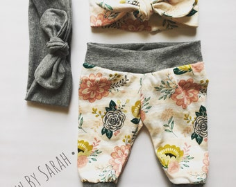 Striped Floral Leggings, Floral Toddler Leggings, Floral Baby Leggings, Floral Girl Leggings, Babys First Outfit, Going Home Set