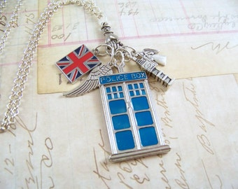 Dr. Who Charm Necklace, Dr. Who Jewelry, Whovian Charm Necklace, Tardis Charm Necklace