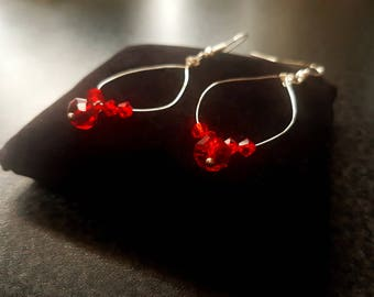 Red and Silver Crystal Drop Earrings