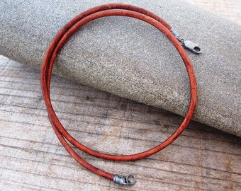 Leather Cord Necklace - 3 mm Thick Genuine Leather and Antique Sterling Silver Clasp/Ends - Natural Brown - Mens/Womens