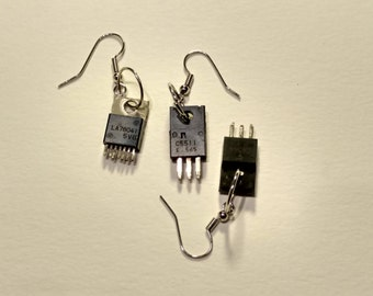 Upcycled Amplifier Chip Earrings