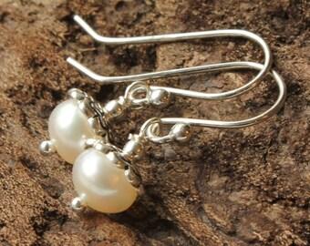 White Pearl Earrings, sterling silver, genuine pearls, bridal, wedding, boho dangle earrings, June birthstone, holiday gift for her, 4405