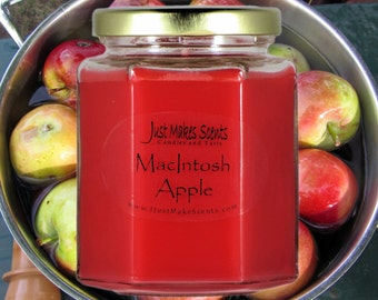 MacIntosh Apple Scented Soy Candle - Homemade Scented Soy Candles - Free Shipping on 6 or More - Great Apple Fragrance for Your Home