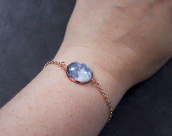 Rose Gold Custom Moon Phase Bracelet - Choice of phase Glass Dome full moon personalised moon bracelet chain