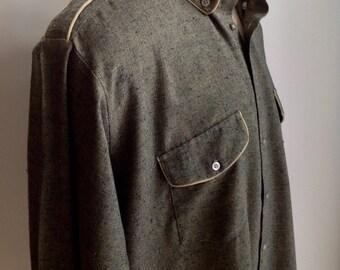 1960's 70's Flecked Cotton Blend Shirt / Button Down pockets & Collar / Size XXLARGE