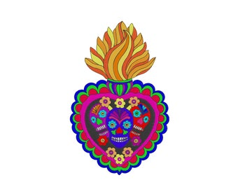 Mexican Talavera Heart- Cinco de Mayo  -  Embroidery Design - 6x8, 7x10, 8x12