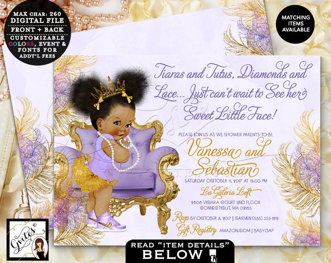 """Purple and Gold baby shower lavender silver invitations Afro Puffs ethnic princess tiaras tutus diamonds, Double Sided 7x5"""" Gvites TIAPAC4GG"""