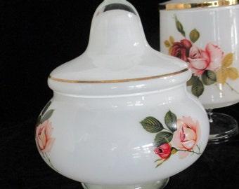 Vintage Set Rose Motif  Vanity Dresser Jars with Lids  Trimmed in Gold