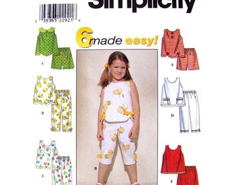 Girls Easy Sewing Pattern Scalloped Top Capri Pants Shorts Pattern Simplicity 8676 Summer Outfits Girls Size 2 3 4 or 5 6 6X UNCUT