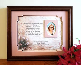 Sister Memorial Frame, Personalized, Loss of Sister, Sister Memorial Gift, In Memory of Sister, Sympathy Gifts, Memorial Picture Frame
