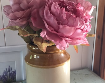 "Stoneware Jar, Stone jar, 17"" vase, vintage stone jar, vintage vase, rustic flower vase"
