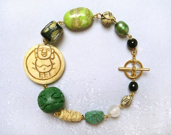 CLEARANCE SALE: Happy Buddha #2 bracelet - gold plated and mixed carved bone, green cinnabar, black yellow glass, pearl, lime magnesite