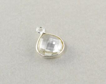 Argent sterling clair Quartz charme, charme de Triangle argent pierres précieuses, breloque Pierre 10mm, un