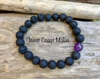 Lava Stone with Amethyst