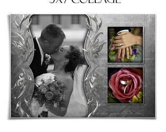 Wedding Collage - SOFTLY SPOKEN - (1) 5x7 Digital Photoshop Template for Photographers & Scrapbookers.