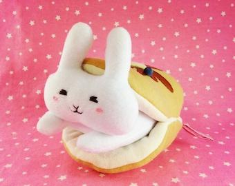 Pancake Bunny Plush | Cute White Bunny Plush | Pancake Plushie