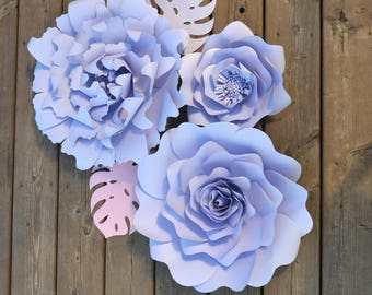 Set of 3 Paper Flowers for flower photobooth backdrop and home decoration. Paper flower wall decor