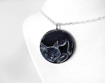 Black Cat Art, Pet Painting, Sleeping Cat, Hand Painted Wood Necklace, Memorial Pendant, Gift for Her, Cat Nap, Animal Lover, In Memory