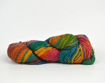 Silk Rainbow Yarn Worsted Weight Yarn - Rainbow Silk Yarn