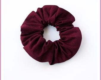 Elastic hair tie/scrunchie size STANDARD or MINI - plain red fabric wine/Burgundy/Red dark - girl and woman