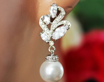 Cubic Zirconia Wedding Earrings, Crystal Pearl Drop Bridal Earrings, Pearl Drop Bridesmaid Earrings, Mother of the Bride, Bridal Accessories