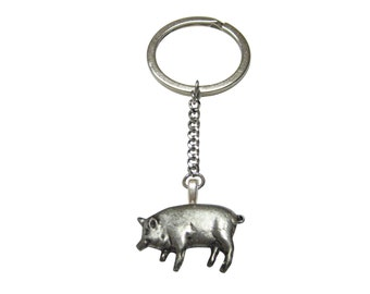 Detailed Pig Pendant Keychain