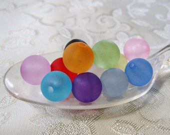 Frosted Round Beads 10mm Lucite Acrylic You Choose Your Colors Faux Sea Glass 811