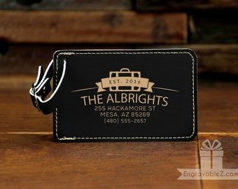 Custom Engraved Leatherette Luggage Tag - Suitcase