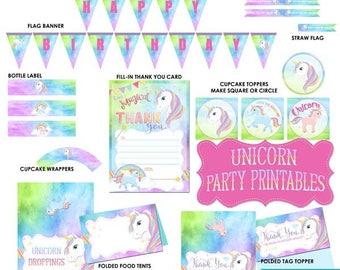 UNICORN Decoration, Unicorn Party Printable, Unicorn Printable, Unicorn, Unicorn Party, Unicorn Decor, Digital, Birthday Party, DOWNLOAD