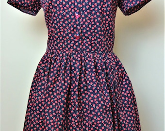 1940s/1950s style strawberry print shirt dress with Peter Pan collar and full skirt