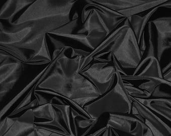"Black Taffeta Fabric   Silk Taffeta Fabric   Fabric By The Yard 58""/60"""