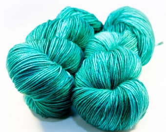 Green Winged Teal - Hand Dyed Superwash Merino Sock Yarn - SUPER SQUISHY!