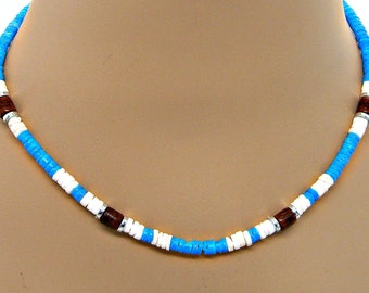 Turquoise White Puka Shell Necklace Hawaiian Surfer SUP 18 Inches Length 7011