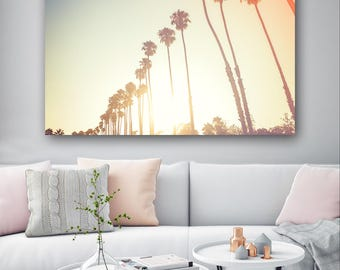 Palm Trees Vintage Style Beach Summer Canvas Print - Wall Art - Framed Print - Ready To hang - Bespoke Canvas Art