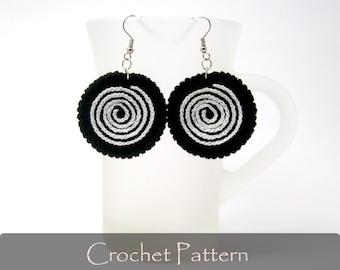 CROCHET PATTERN - Twirl Crochet Earrings Pattern Circle Earrings Fabric Pattern Jewelry Crochet Jewelry PDF - P0016