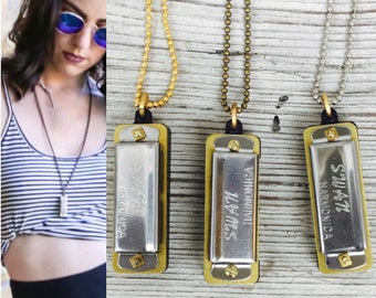 Harmonica Necklace, working Musical necklace, long necklace, men's necklace, brass ox Gold silver mini charm *BULK OPTIONS* n7 eb