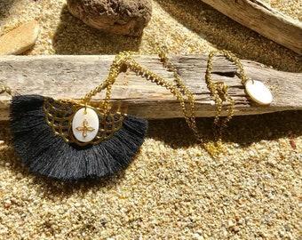 Short black tassel necklace