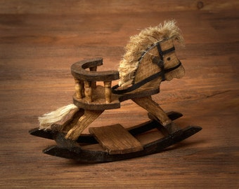 Miniature Wooden Rocking Horse for Your Dollhouse