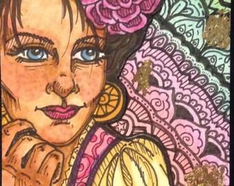 Original Art- Gypsy Queen, ATC/ACEO