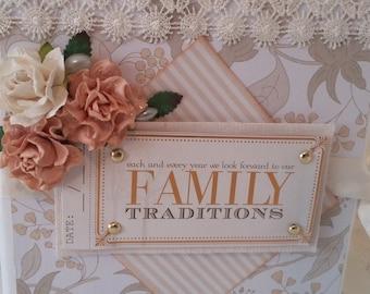 "Scrapbook Photo Album ""Family Traditions"", Monochromatic Memory Book, 5.5 x 6 Scrapbook Mini Album"