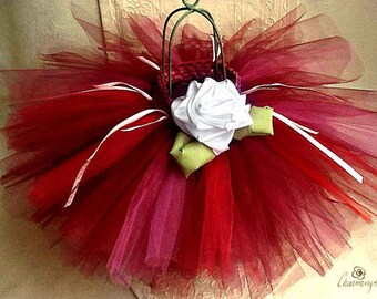 Burgundy Red 12 month to 2T Christmas Tutu with White Ribbon Rose, Princess Tutu, Crimson Ballerina Tutu, Dress-up Tutu, Tutu with Flower