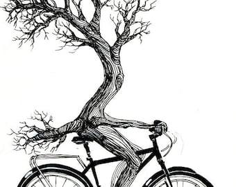 Tree Riding Bicycle Print