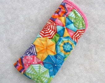 Quilted Sunglass/Eyeglass case - Beach Umbrellas