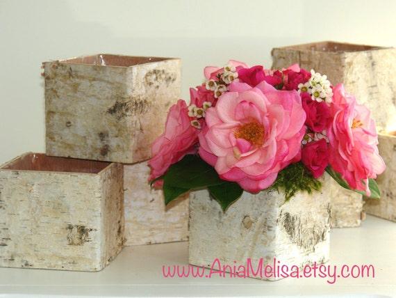 birch bark vases wood boxes floral arrangement square flower