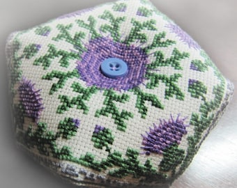 Cross Stitch Pattern PDF Biscornu Pin Cushion Thistle