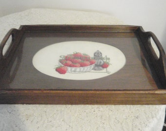 Needlepoint Tray,Serving tray with glass covering Strawberries Needle work,Bed tray, Breakfast tray,coffee tray, tea time tray, display tray